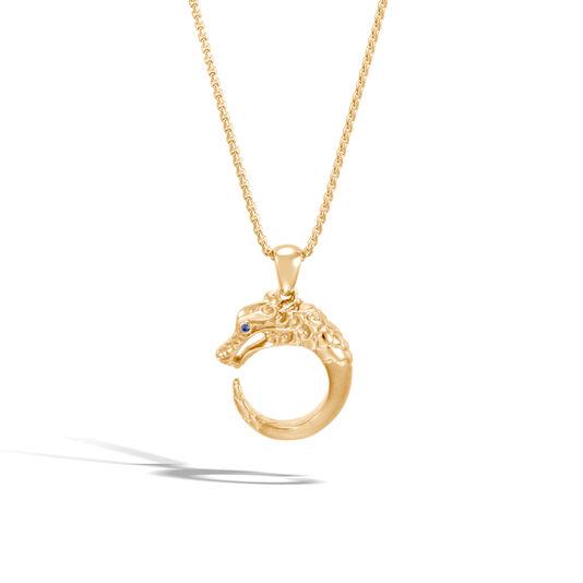 Legends Naga Pendant Necklace in Brushed 18K Gold, Blue Sapphire, large