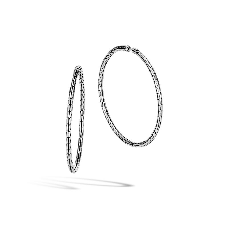 Classic Chain Silver Large Hoop Earrings in Silver, , large