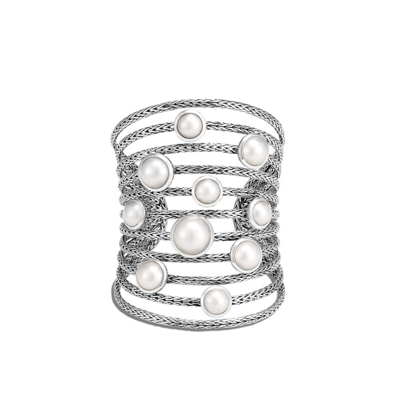 Classic Chain Cuff in Silver with Pearl, Mabe Pearl, large