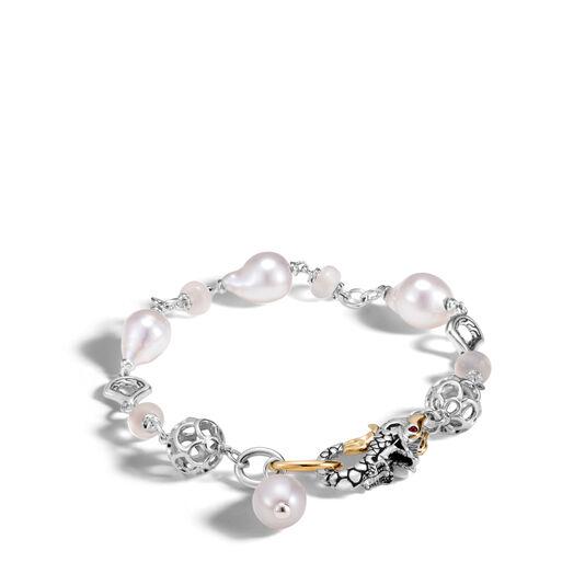 Legends Naga Station Bracelet, Silver, 18K Gold, Pearl, Gems, White Fresh Water Pearl, large