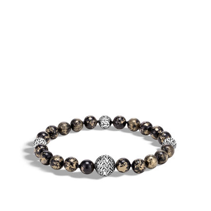 Classic Chain Bead Bracelet in Silver with 8MM Gems