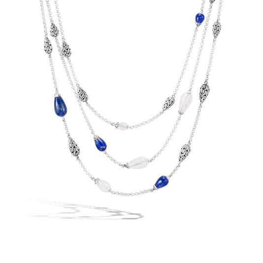 Classic Chain Multi Row Necklace in Silver with Gemstone, Lapis Lazuli, large