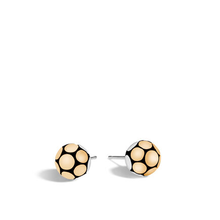 Dot Stud Earring in Silver and 18K Gold
