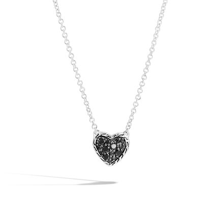 Classic Chain Heart Necklace in Silver with Gemstone