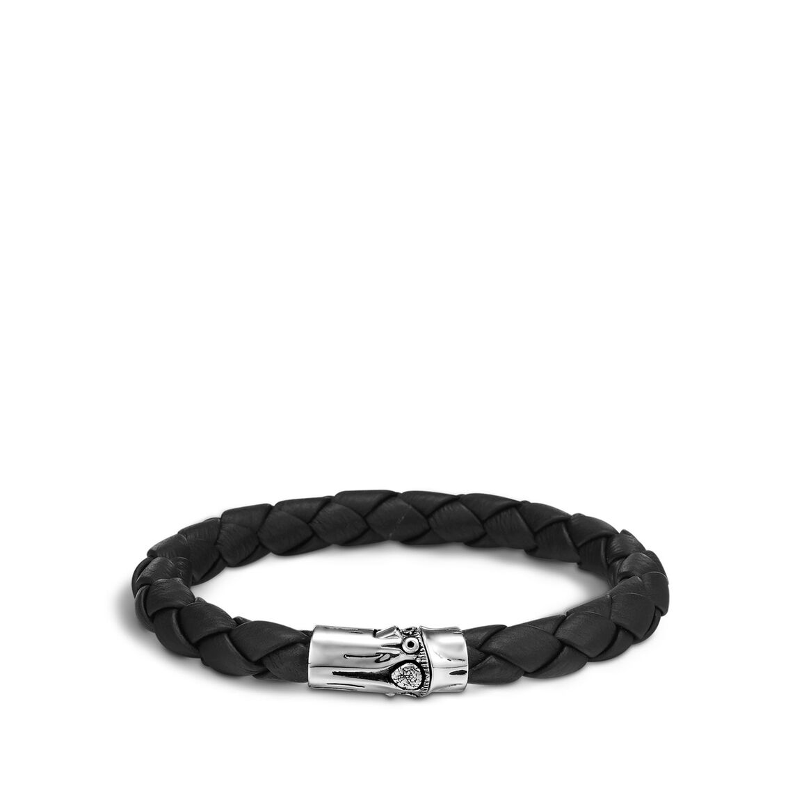 Bamboo 8MM Station Bracelet in Silver and Leather