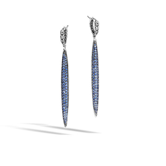 Classic Chain Drop Earring in Silver with Gemstone, Blue Sapphire, large