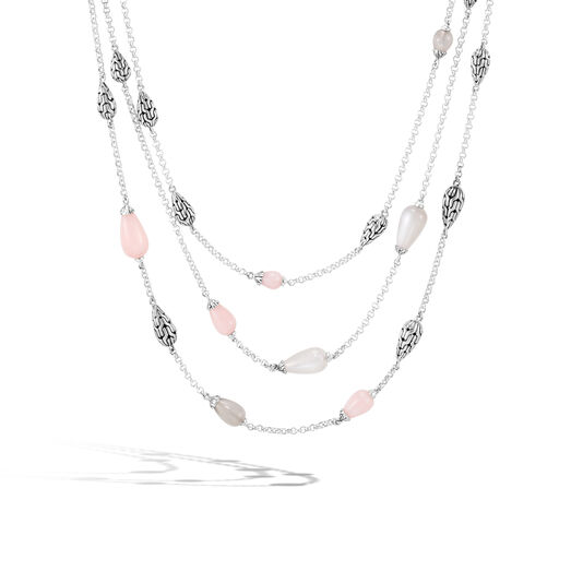Classic Chain Multi Row Necklace in Silver with Gemstone, Pink Opal, large