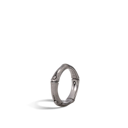 Bamboo 4.5MM Band Ring in Blackened Brushed Silver