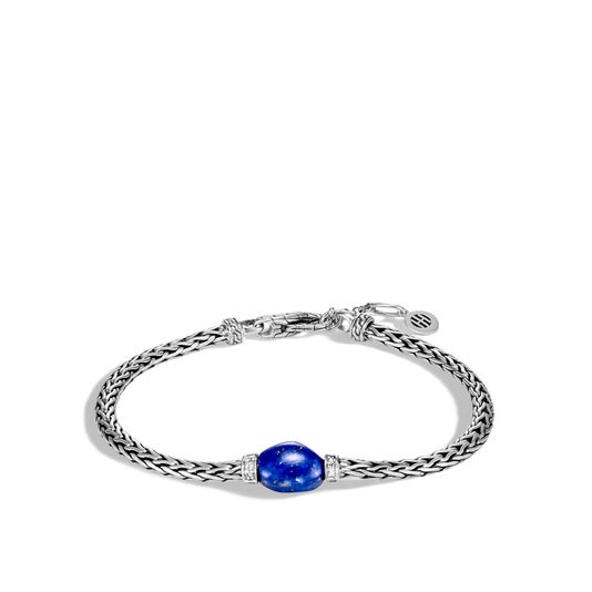 Classic Chain Bracelet in Silver with Gemstone, Lapis Lazuli, large