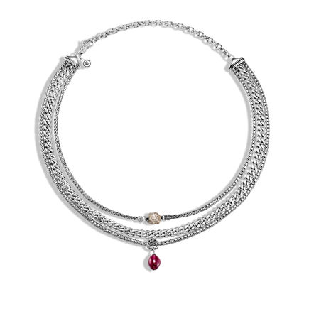 AAxJH Classic Chain Multi Row Necklace in Silver with Gemstone