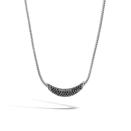 Classic Chain Necklace in Silver with Gemstone, Black Spinel, large