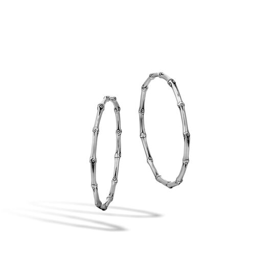 Bamboo Large Hoop Earring in Silver, , large