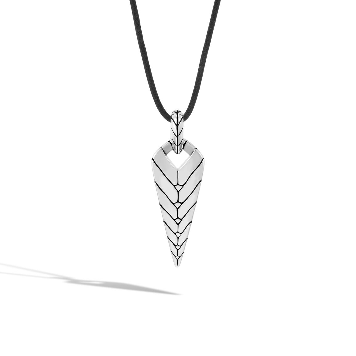 Modern Chain Pendant Necklace in Silver and Leather