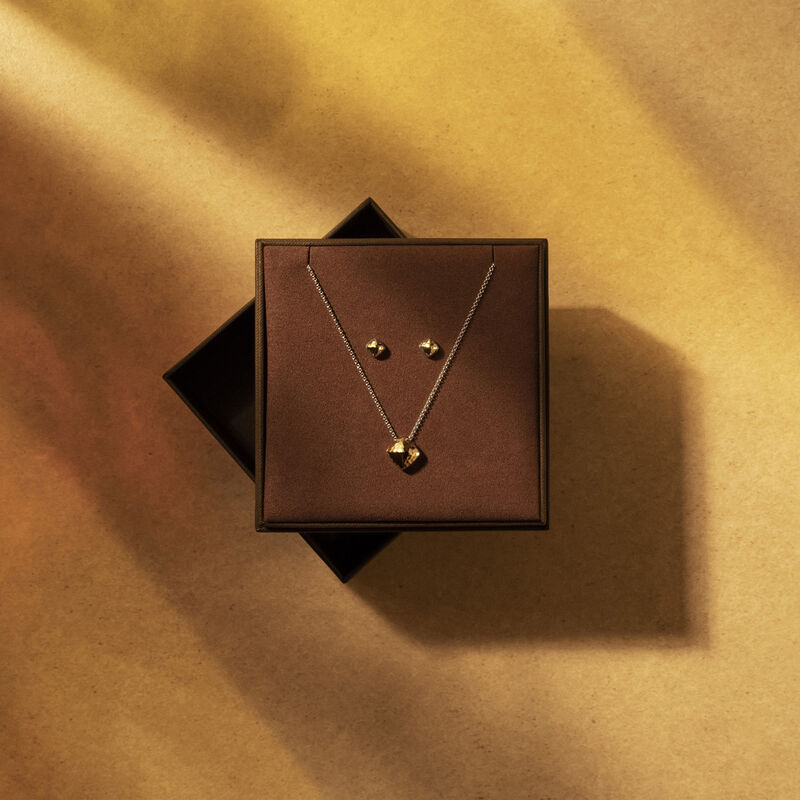 Sugarloaf Necklace and Earring Set, Hammered 18K Gold, Silver, , large