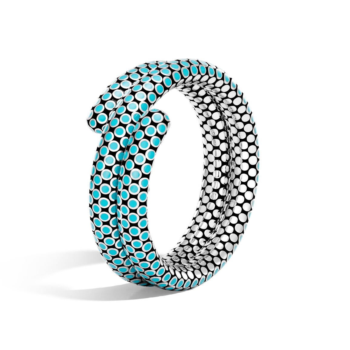 Dot Double Coil Bracelet in Silver with Enamel