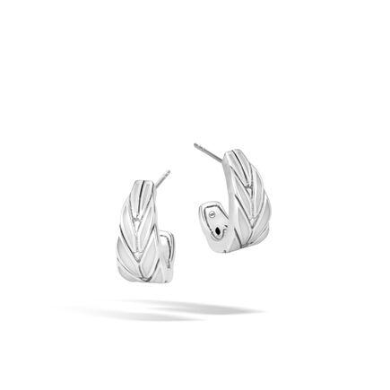 Modern Chain Small J Hoop Earrings in Silver with Enamel