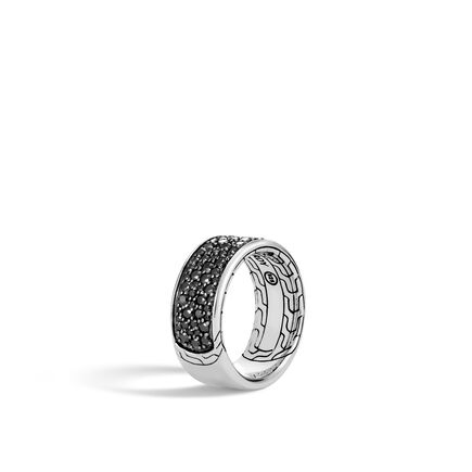 Classic Chain 10MM Band Ring in Silver with Gemstone