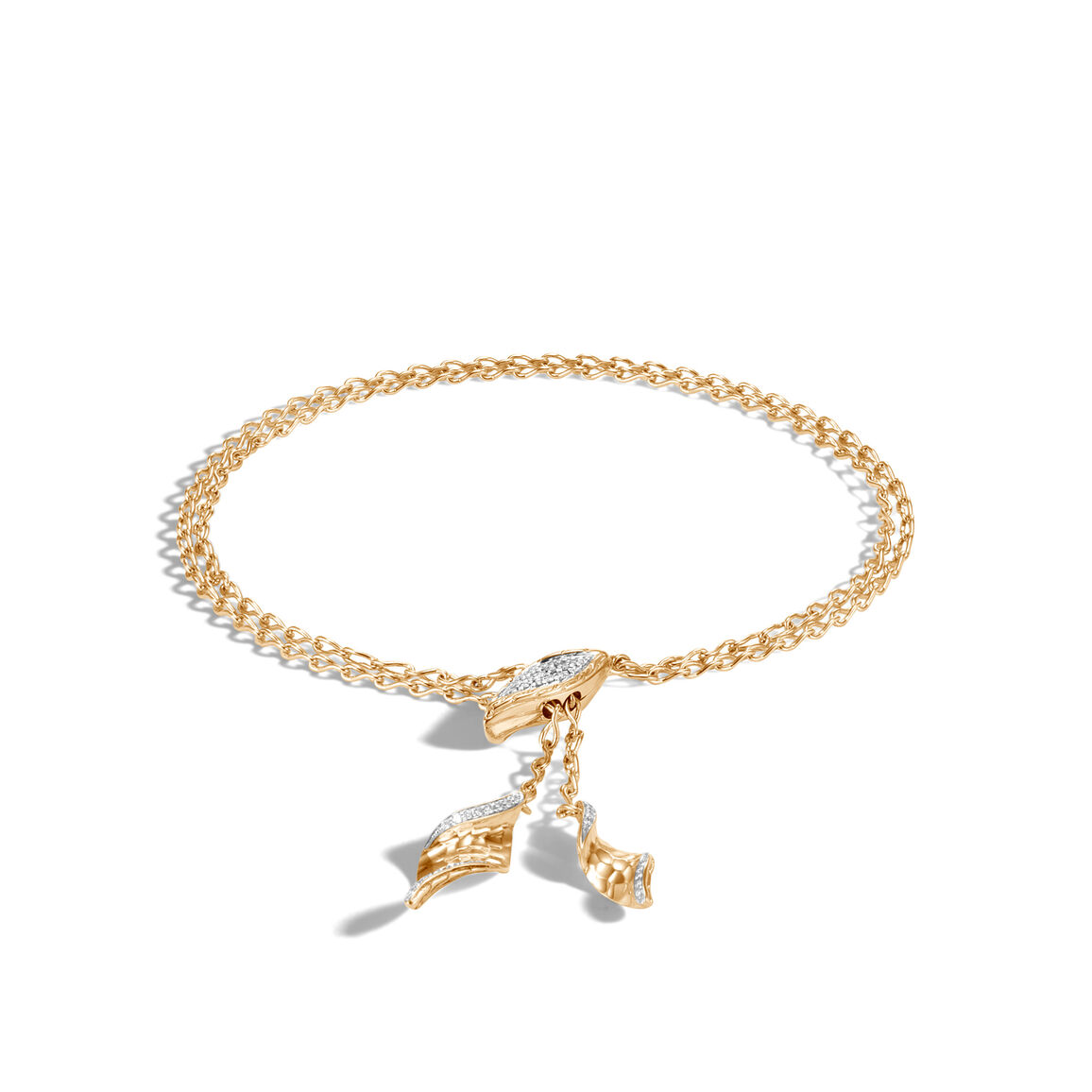 Classic Chain Wave Pull Through Bracelet, 18K Gold, Diamonds