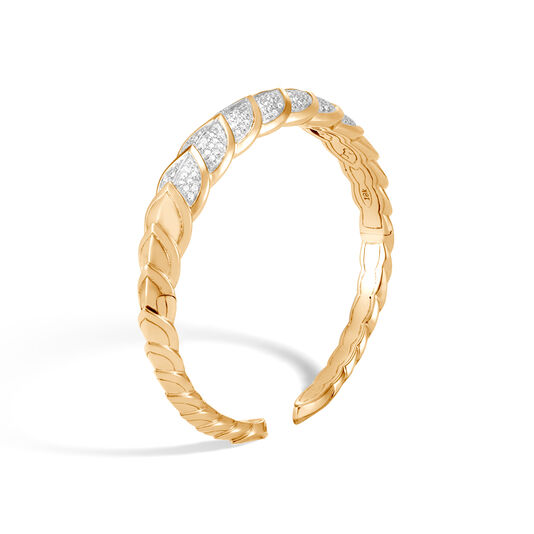 Legends Naga 9MM Cuff in 18K Gold with Diamonds, White Diamond, large
