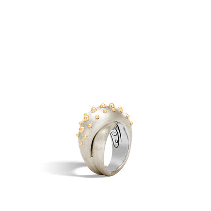 Dot Overlap Ring in Brushed Silver and 18K Gold