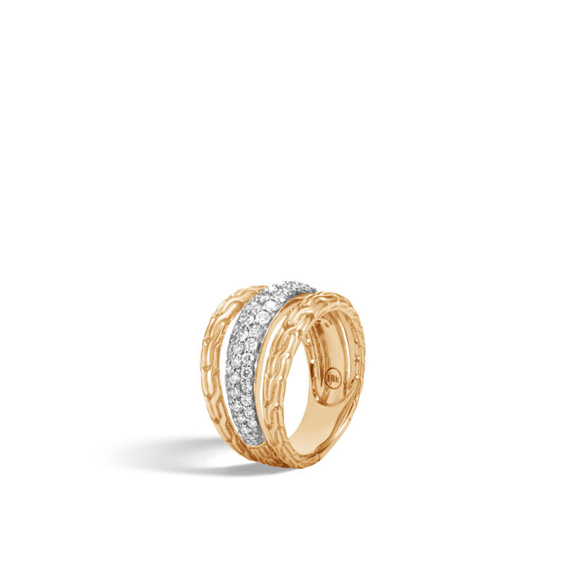 Classic Chain Ring in 18K Gold with Diamonds, White Diamond, large