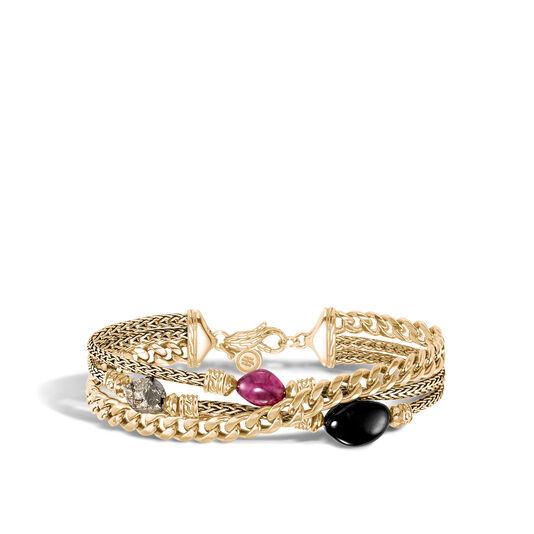 AAxJH Classic Chain Triple Row Bracelet in 18K Gold with Gemstone, Black Tourmaline, large