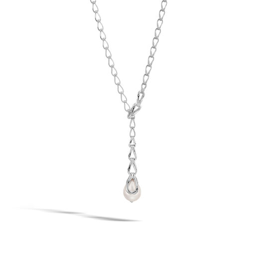 Bamboo Y Necklace in Silver with 12MM Pearl, White Fresh Water Pearl, large