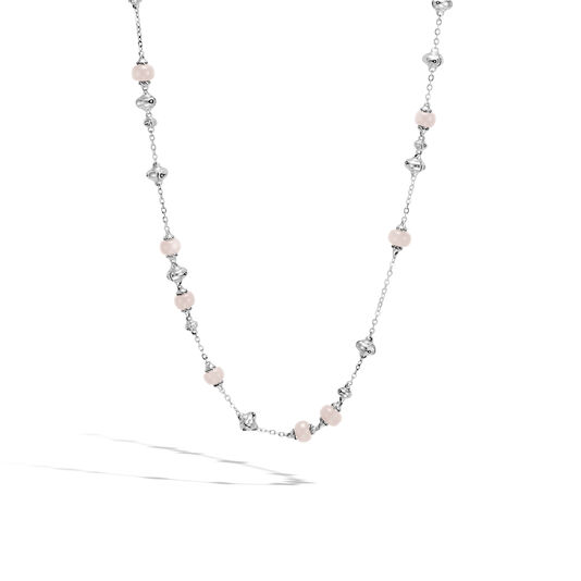 Bamboo Station Necklace in Silver with Gemstone, White Moonstone, large