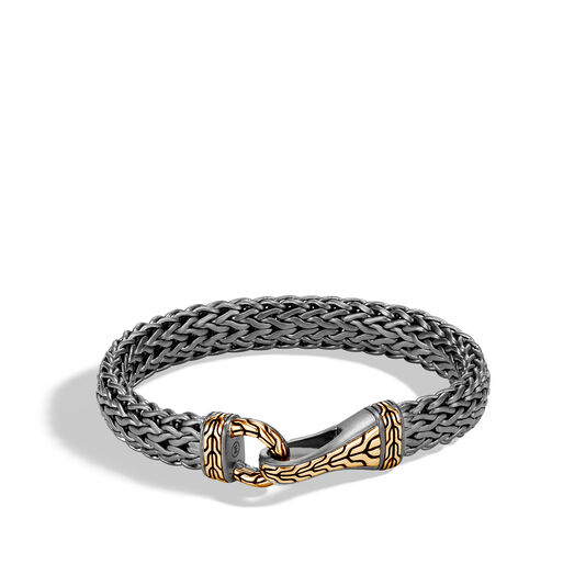 Classic Chain 11MM Hook Bracelet in Blacked Silver and 18K Gold, , large