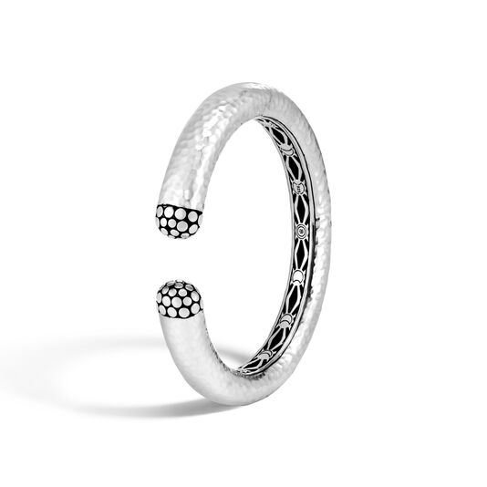 Dot 12MM Kick Cuff in Hammered Silver, , large