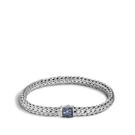 Classic Chain 6.5MM Bracelet in Silver with Gemstone, Blue Sapphire, large