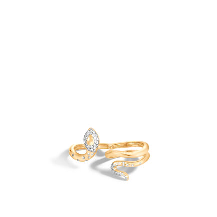 Legends Cobra Two Fingers Ring in 18K Gold with Diamonds