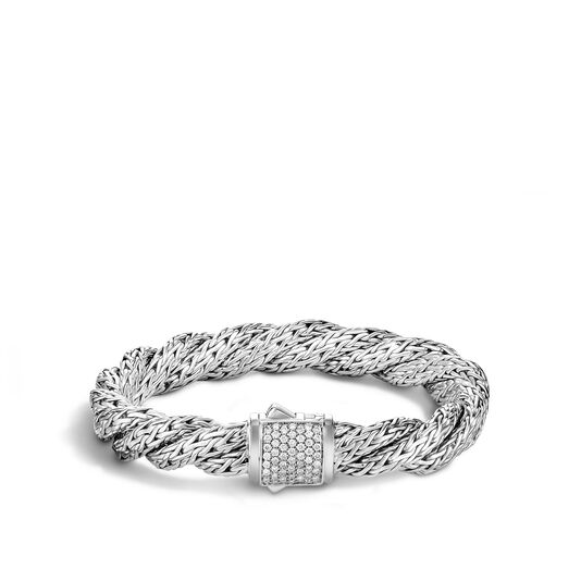 Twisted Chain 9MM Bracelet in Silver with Diamonds, White Diamond, large