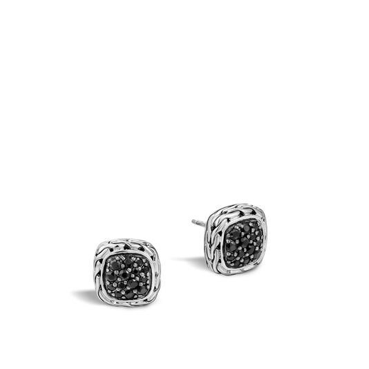 Classic Chain Stud Earring in Silver with Gemstone, Black Sapphire, large