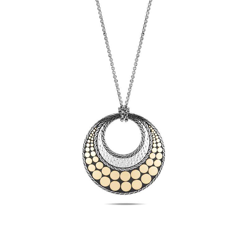 Dot Long Reversible Pendant Necklace, Hammered Silver,18K, , large