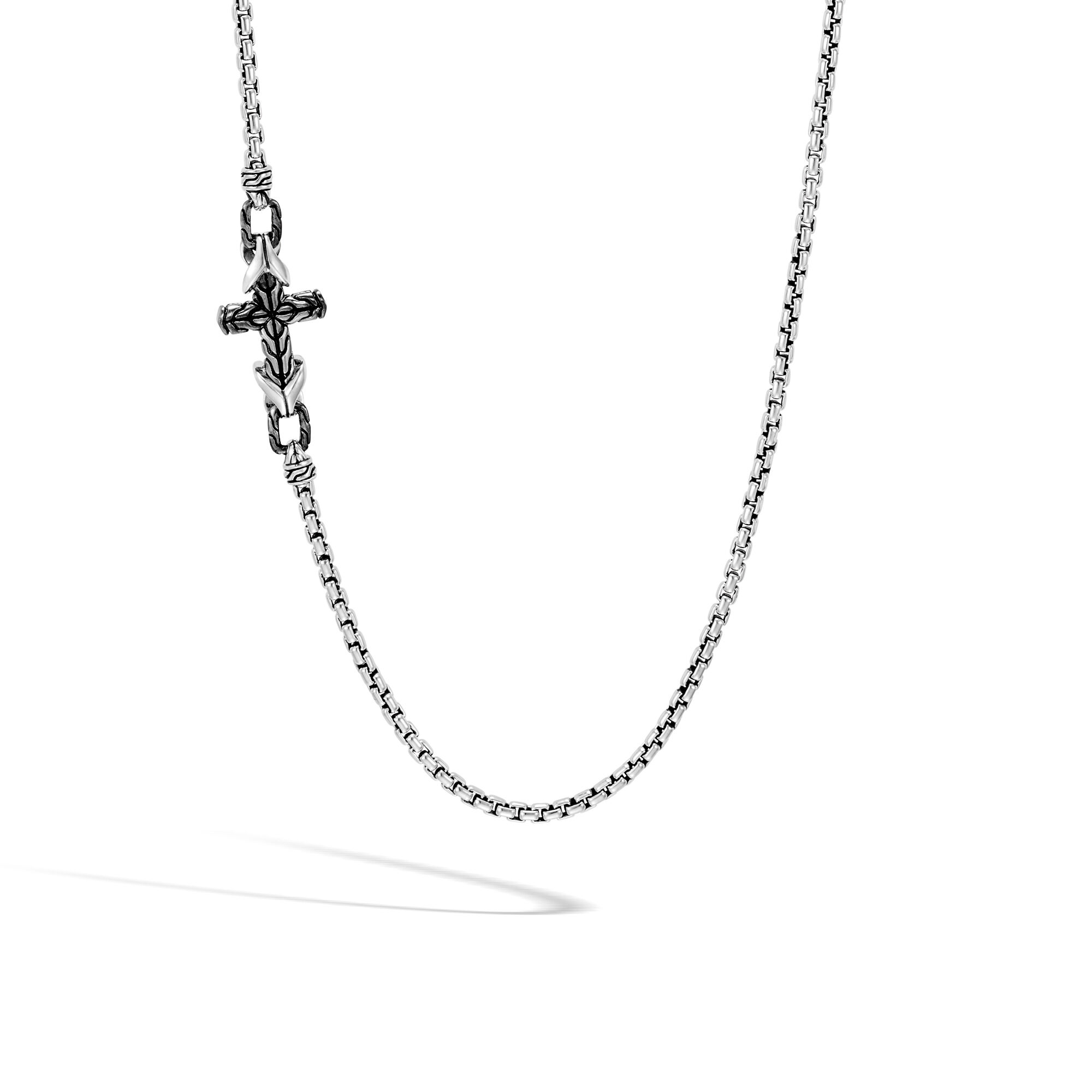 """Box Chain 26"""" Cross Station Necklace, , large"""