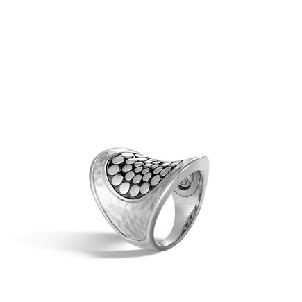 Dot Saddle Ring in Hammered Silver
