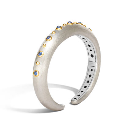 Dot 10MM Kick Cuff in Brushed Silver and 18K Gold, Gemstone