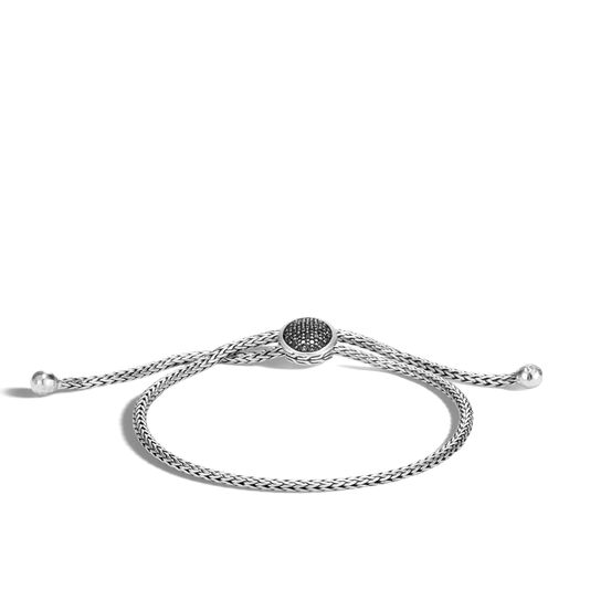 Classic Chain Pull Through Bracelet in Silver with Gemstone, Black Sapphire, large
