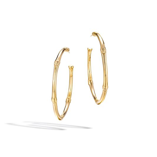 Bamboo Large Hoop Earring in 18K Gold, , large