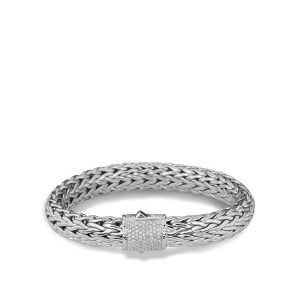 Classic Chain 10.5MM Bracelet in Silver with Diamonds