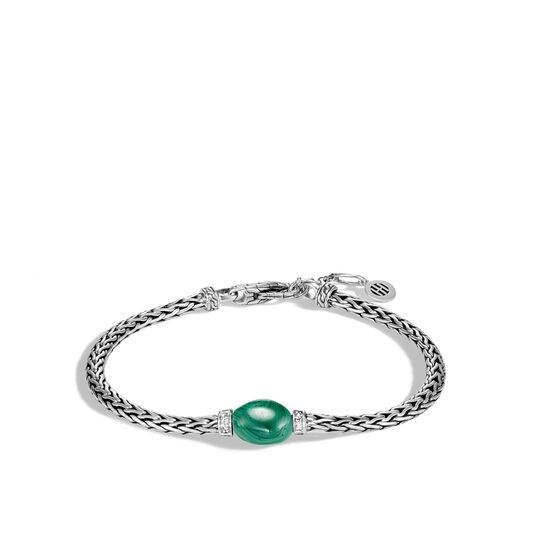 Classic Chain Bracelet in Silver with Gemstone, Malachite, large