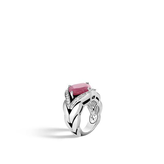 Modern Chain Magic Cut Ring, Silver, 12MM Gemstone, Diamonds, Pink Sheen Sapphire, large
