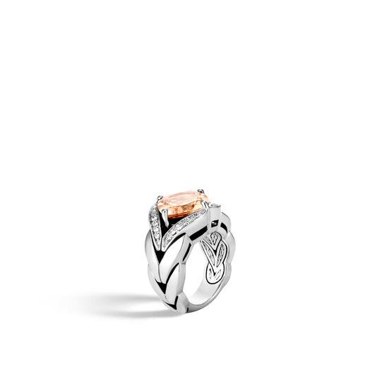 Modern Chain Magic Cut Ring, Silver, 12MM Gemstone, Diamonds, Champagne Topaz, large