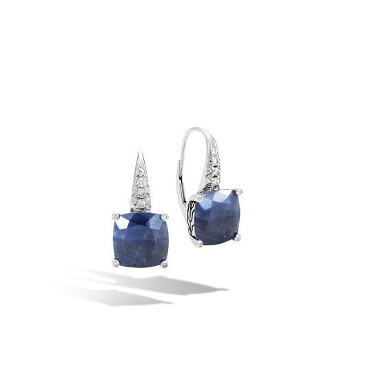 Classic Chain Magic Cut Drop Earring, Silver, Gems, Diamonds, Blue Sapphire, large