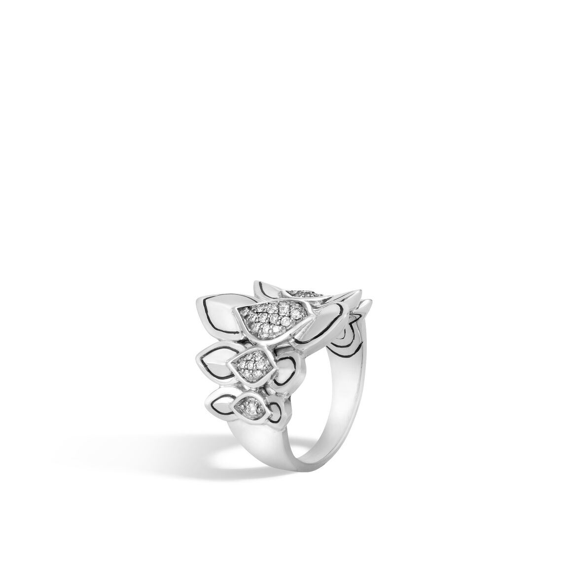 Legends Naga Saddle Ring in Silver with Diamonds