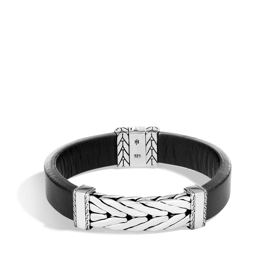 Modern Chain 13MM Station Bracelet in Silver, Leather