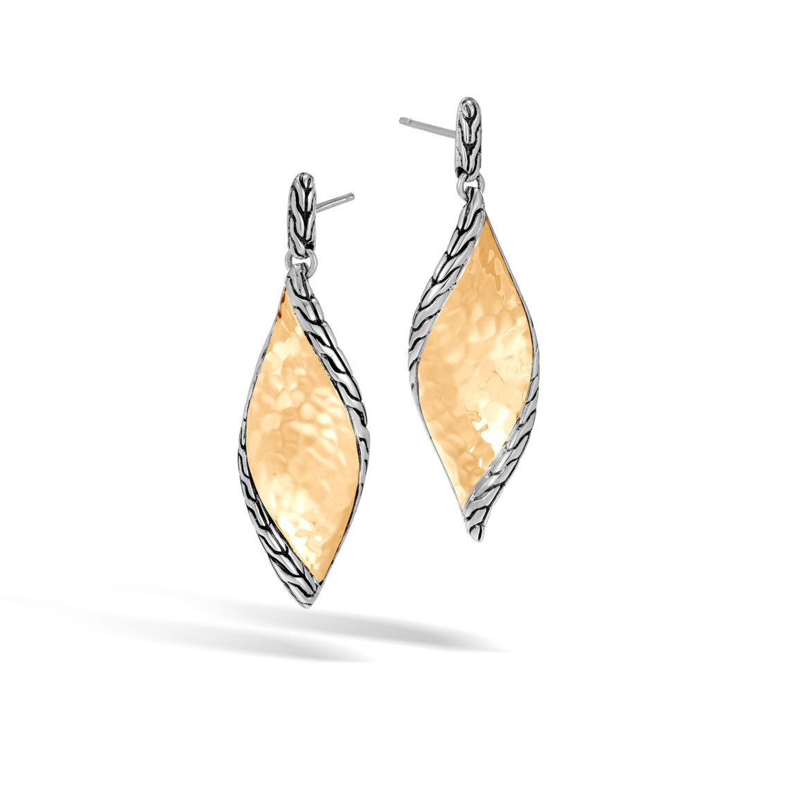 Classic Chain Wave Drop Earring, Silver, Hammered 18K Gold