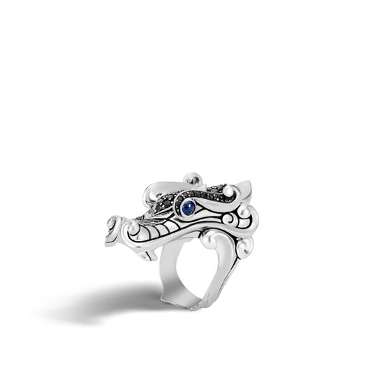 Legends Naga Ring in Silver with Gemstone, Black Spinel, large