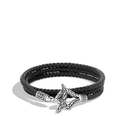 Legends Naga Triple Wrap Bracelet in Silver, Leather